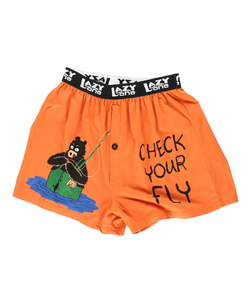 Check Your Fly Bear - Men's Boxer Shorts - Lazy One®